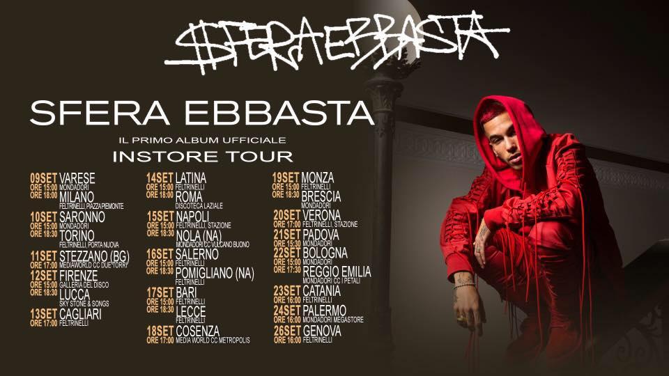 """Date Instore """"Sfera Ebbasta"""" Dal 9 Al 26 Settembre"""